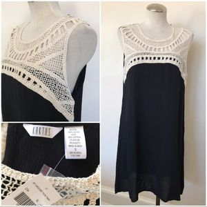 NWT black tunic dress with crocheted lace insets